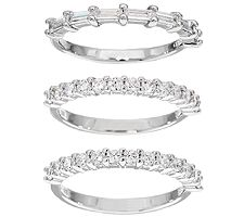 Epiphany Diamonique S/3 Round and Baguette Band Rings
