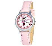 Disney Kids Minnie Mouse Pink Leather Band TimeTeacher Watch - J309078