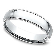 Sterling Silver Milgrain 4MM Unisex Wedding B and Ring - J309978