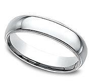 Sterling Silver Milgrain 4MM Unisex Wedding B and Ring - J309978