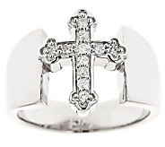 Cross Diamond Ring, Sterling, 1/8cttw by Affinity - J310178