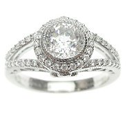 Judith Ripka Sterling Diamonique Round Halo Ring - J313478