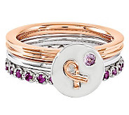 Simply Stacks Sterling Pink Awareness Ring Set - J314578