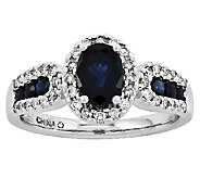 Oval Gemstone and 1/6 ct tw Diamond Ring, 14K W hite Gold - J315978