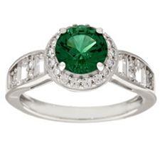 Epiphany Diamonique & Simulated Gemstone Halo Ring