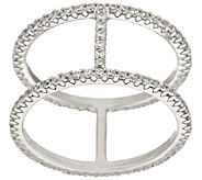 Diamonique Double Band Bar Ring, Sterling or 18K Clad - J318178