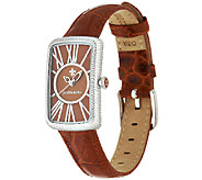 Judith Ripka Avalon Stainless Steel Croco Embossed Leather Watch - J320278