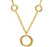 Bronze Polished Interlocking Ring Station Necklace by Bronzo Italia - J323078