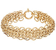 14K Gold 7-1/4 Domed Interlocking Link Bracelet, 9.5g - J324678