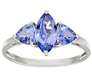 Tanzanite 3-Stone Multi-Cut Ring, 14K Gold 1.70 cttw - J325078