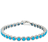 Sleeping Beauty Turquoise 8 Sterling Silver Diamond Cut Tennis Bracelet - J326478