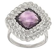 As Is UltraFine Silver Cushion Cut Gemstone RopeBorder Ring - J326778