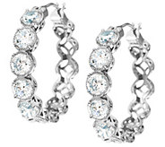 Diamonique Textured Hoop Earrings, Sterling or 14K Clad - J328278