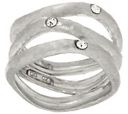 As Is Italian Silver Sterling Diamonique Station Wavy 3-Row Ring - J330378