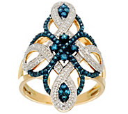 Blue & White Diamond Elongated Ring, 14K, 1/2 cttw, by Affinity - J331078