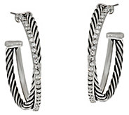 Stainless Steel Twisted Crystal & Rope Design Hoops - J335378