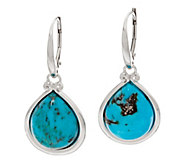 Kingman Turquoise Pear Shaped Sterling Drop Earrings - J347778