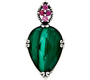 Carolyn Pollack Sterling Silver Malachite Doublet Turtle Enhancer - J350078