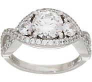 Diamonique Round Twisted Shank Ring, Platinum Clad - J351278
