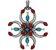 American West Turquoise & Coral Naja Sterling Silver Enhancer - J351778
