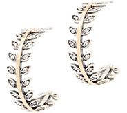 Or Paz Sterling Silver & 14K Gold Leaf Design Hoop Earrings - J354978