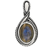 As Is Carolyn Pollack Sterl. Silver Oval Labradorite Enhancer - J356378