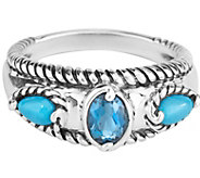Carolyn Pollack  Sleeping Beauty Turquoise & Blue Topaz Ring - J377378