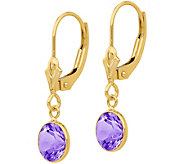 14K Gemstone Dangle Lever Back Earrings - J378078