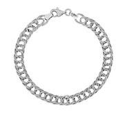14K White Gold Double Link Bracelet, 3.9g - J379078