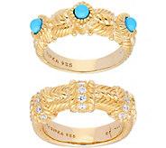 Judith Ripka 14K Clad Turquoise & Diamonique Rings, Set of 2 - J379478