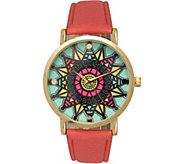 Olivia Pratt Womens Mandala-Inspired Dial Leather Watch - J380478