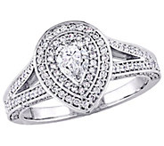 Affinity 14K Gold 9/10 cttw Pear-Shaped DiamondHalo Ring - J381378