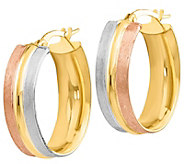 Italian Gold 1 Tri-Color Oval Hoop Earrings 14K, 2.4g - J382178