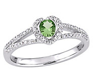 14K Gold Round Tsavorite & Diamond Halo Ring - J382478