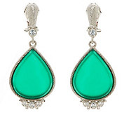 Judith Ripka Sterling Green Chalcedony and Diamonique Drop Earrings - J269279