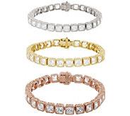 Judith Ripka Sterling or 14K Clad Diamonique Tennis Bracelet - J276879