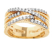 Diamonique Twisted Rope Crossover Band Ring, 14K Clad - J282579