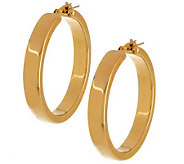 Oro Nuovo 1-1/2 Square Tube Design Hoop Earrings, 14K - J283879