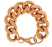 Bronze 7-1/4 Bold Polished Curb Link Bracelet by Bronzo Italia - J285179