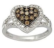 Champagne & White Heart Diamond Ring, Sterl, 1/2 cttw by Affinity - J286279