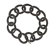Vicenza Silver Sterling 7-1/4 16.50 ct tw Black Spinel Curb Bracelet - J288279