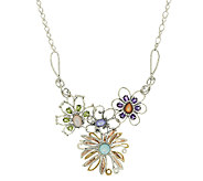 Carolyn Pollack Mixed Metal 3.90cttw Gemstone Flower Necklace - J289979