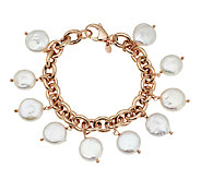 Honora Coin Cultured Pearl 7-1/4 Bronze Charm Bracelet - J291579