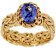 14K Gold 1.00 ct Tanzanite Byzantine Ring - J294079