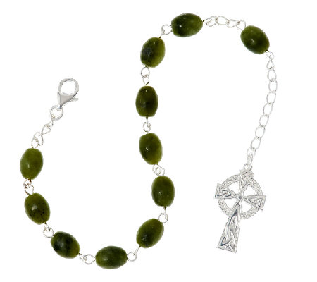 Artisan Crafted Sterling Connemara Marble Bead Rosary