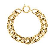 As Is 14K Gold 7-1/4 Textured & Polished Link Bracelet, 7.0g - J294679