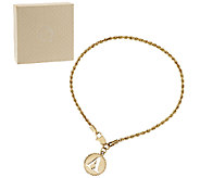 14K Yellow Gold 6-3/4 Initial Charm Woven Rope Bracelet - J295679