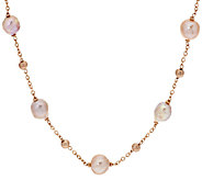 Honora Ming Cultured Pearl 18 or20 Stationed Bronze Necklace - J295879