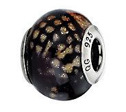 Prerogatives Brown Python Glitter Italian Murano Glass Bead - J300279