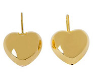 Veronese 18K Clad Polished Heart Leverback Earrings - J302279